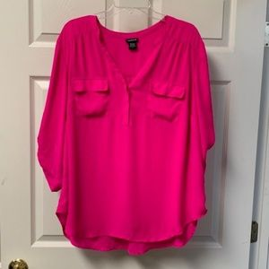 TORRID ELECTRIC PINK BLOUSE WITH ADJUSTABLE SLEEVE